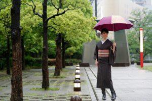 着物,雨,長靴,傘,モデル,撮影,浦安,南行徳,松本,着付け教室