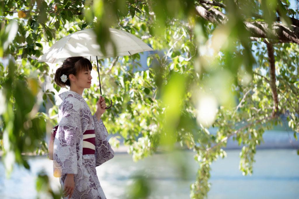 浴衣,夏,松本,モデル,暑さ,日傘
